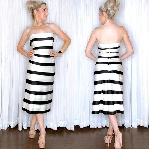 BCBGMaxAzria Dresses & Skirts - BCBG White Black Stripe Fancy Midi Dress